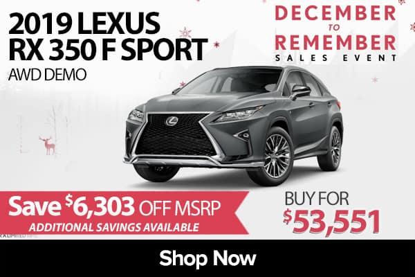 2019 Lexus RX 350 F Sport AWD demo