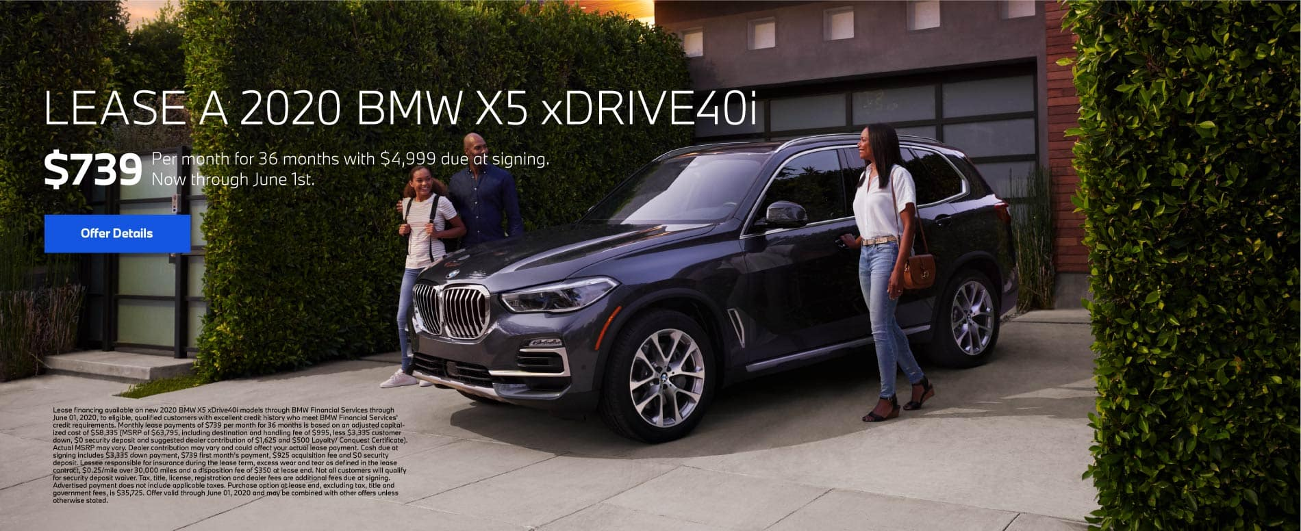Lease a 2020 BMW X5 xDRIVE40i for $739 per month for 36 months with $4,999 due at signing - Click To View Inventory