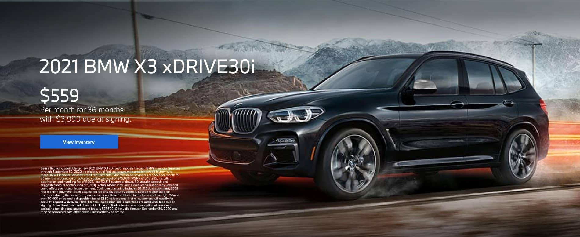 2021 BMW X3 xDRIVE30i - Lease for $559 Per Month for 36 Months - $3,999 Due At Signing. Click for offer.