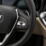 close-up of bmw steering wheel
