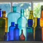 glass bottles in window