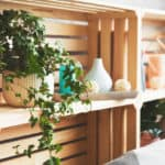 Wooden drawer shelves made from crates