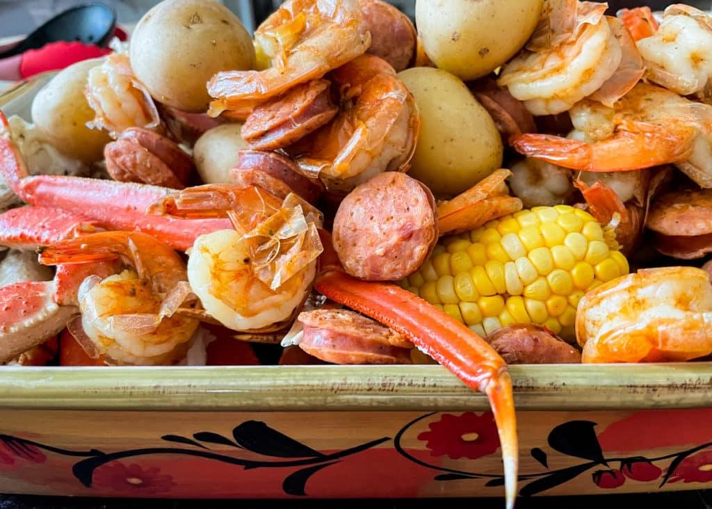 Steamed Shrimp, crab legs, sausage, potatoes, corn on the cob.