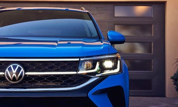 2022 Volkswagen Taos available illuminated grille features LED headlights with available Adaptive Front-lighting System (AFS)