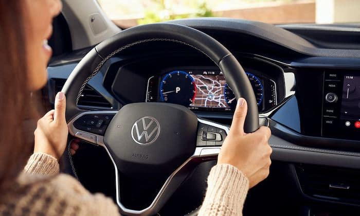 2022 Volkswagen Taos available leatherette-wrapped, heated multi-function steering wheel