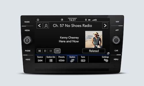 2022 Volkswagen Taos SiriusXM with 360L touchscreen interface showing the channel that is currently playing