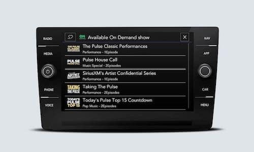 2022 Volkswagen Taos SiriusXM with 360L touchscreen interface showing Available On Demand options screen