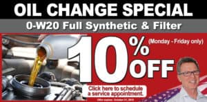 Oil Change special - Get 10% off banner