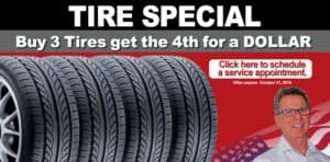Tire Special - Buy 3 get 4th for a dollar banner