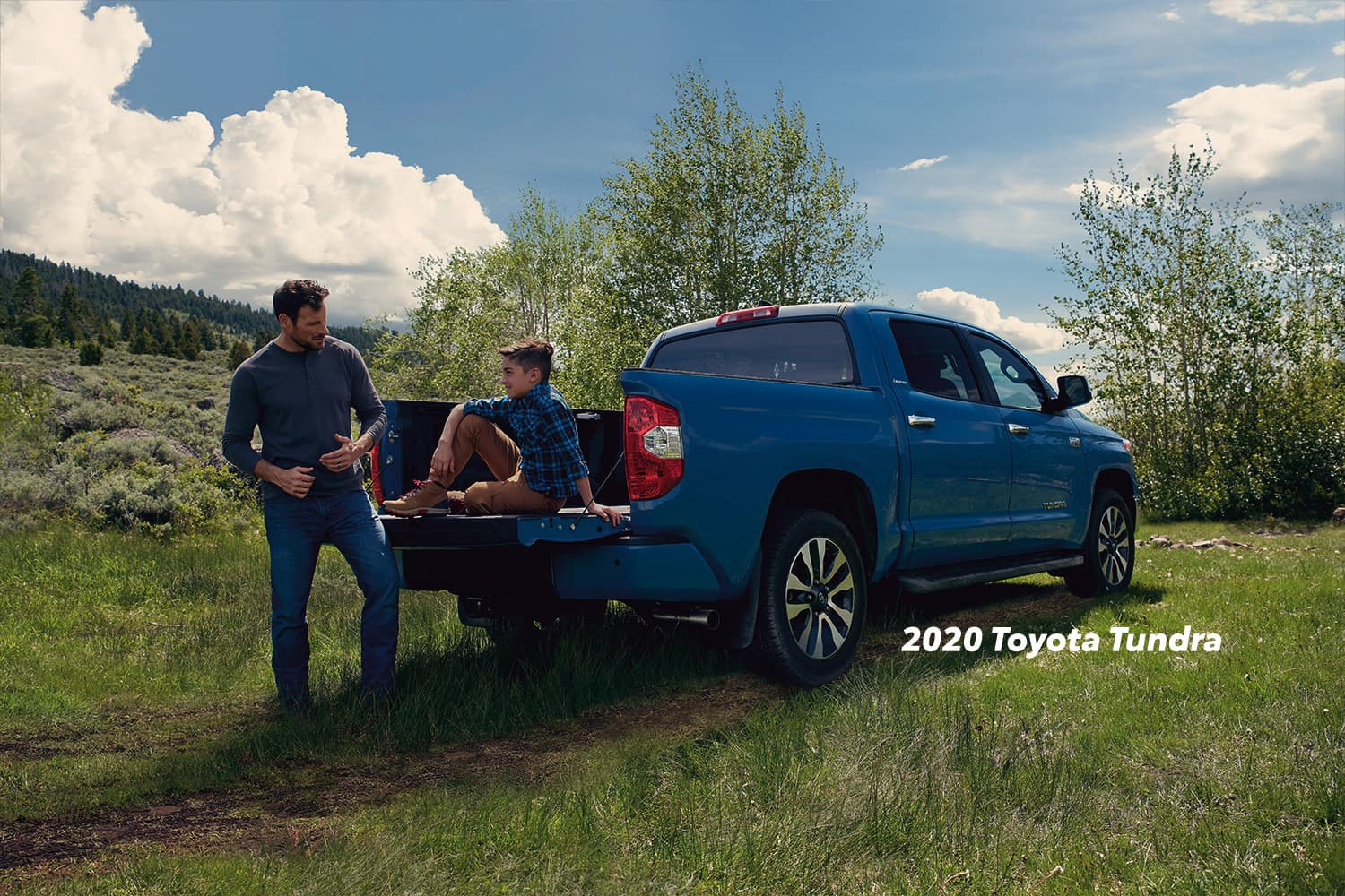Comparison of the Toyota Tacoma vs. Tundra at Boch Toyota of Norwood | 2020 Tundra parked in a field