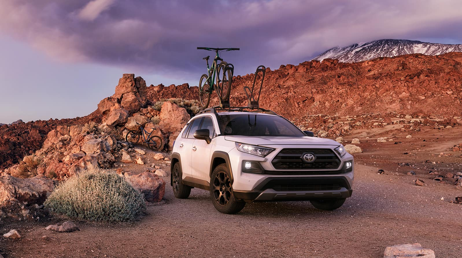 Performance features of the 2020 Toyota RAV4 at Boch Toyota | white 2020 RAV4 parked on mountain terrain
