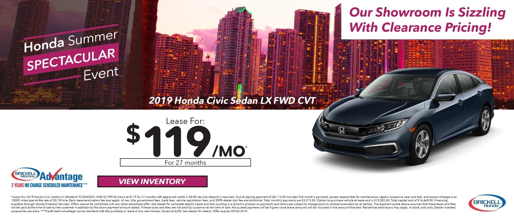 Brickell Honda Summer Spectacular Event on 2019 Honda Civic