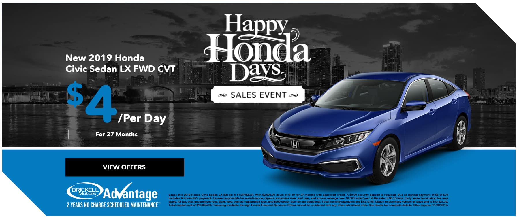 Brickell Honda Civic Special Offer Happy Honda Days