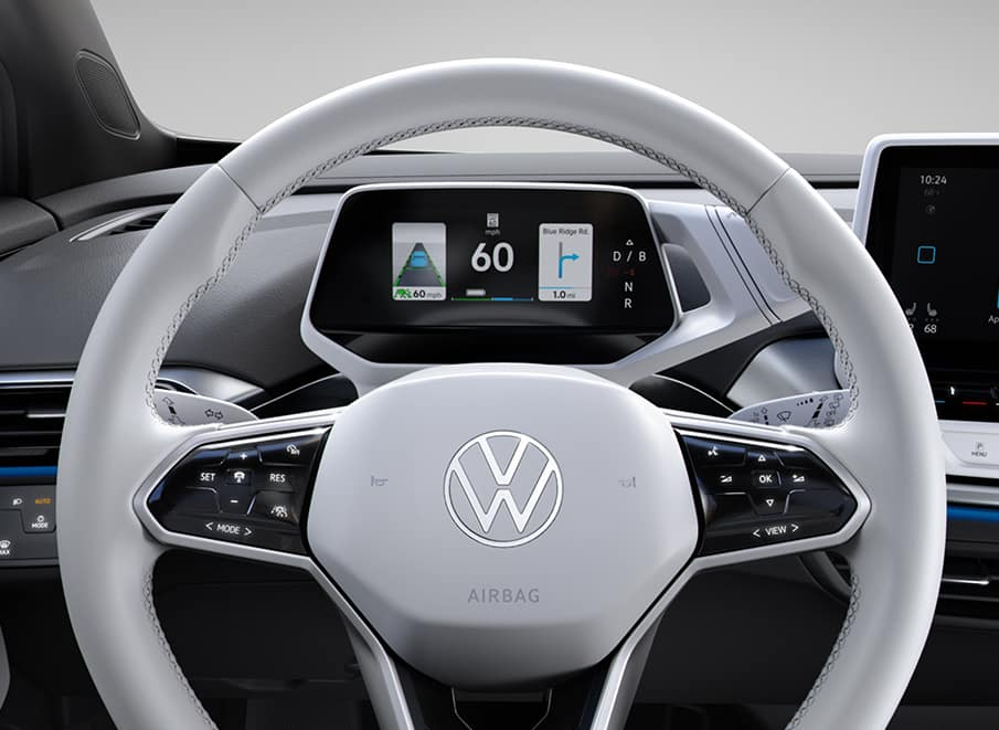 VW ID.4 Steering Wheel Close Up
