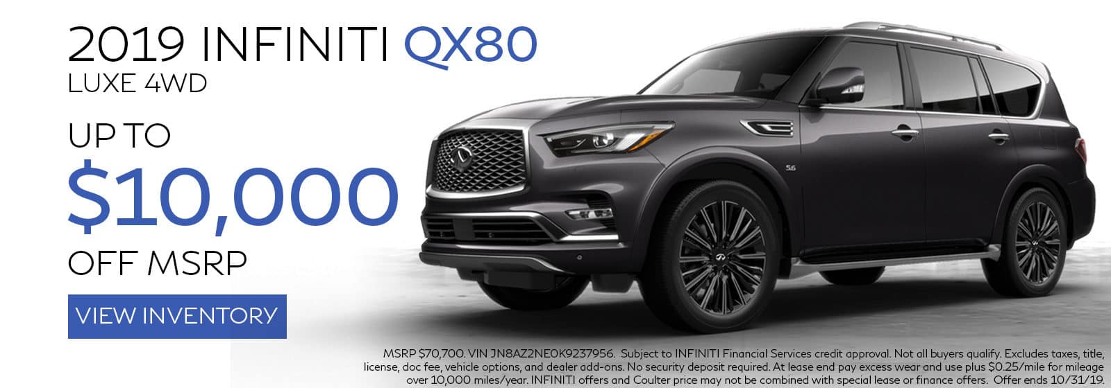 2019 INFINITI QX80 offer at Coulter INFINITI Near Scottsdale Arizona