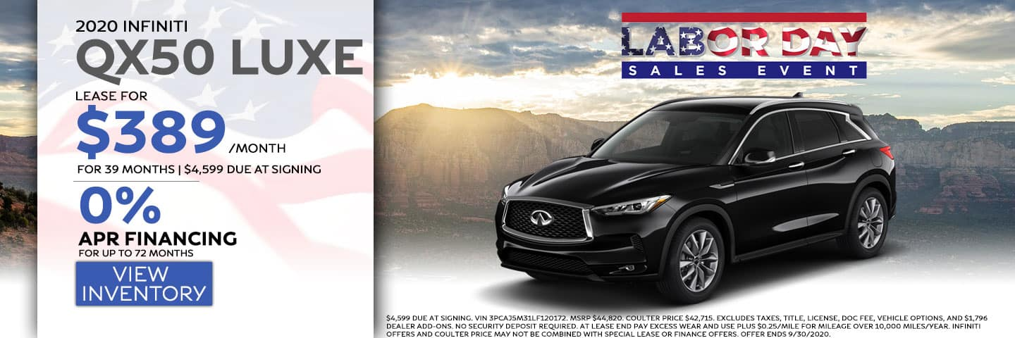 2020 INFINITI QX50 2.0T LUXE AWD $389 Per month lease for 39 months.