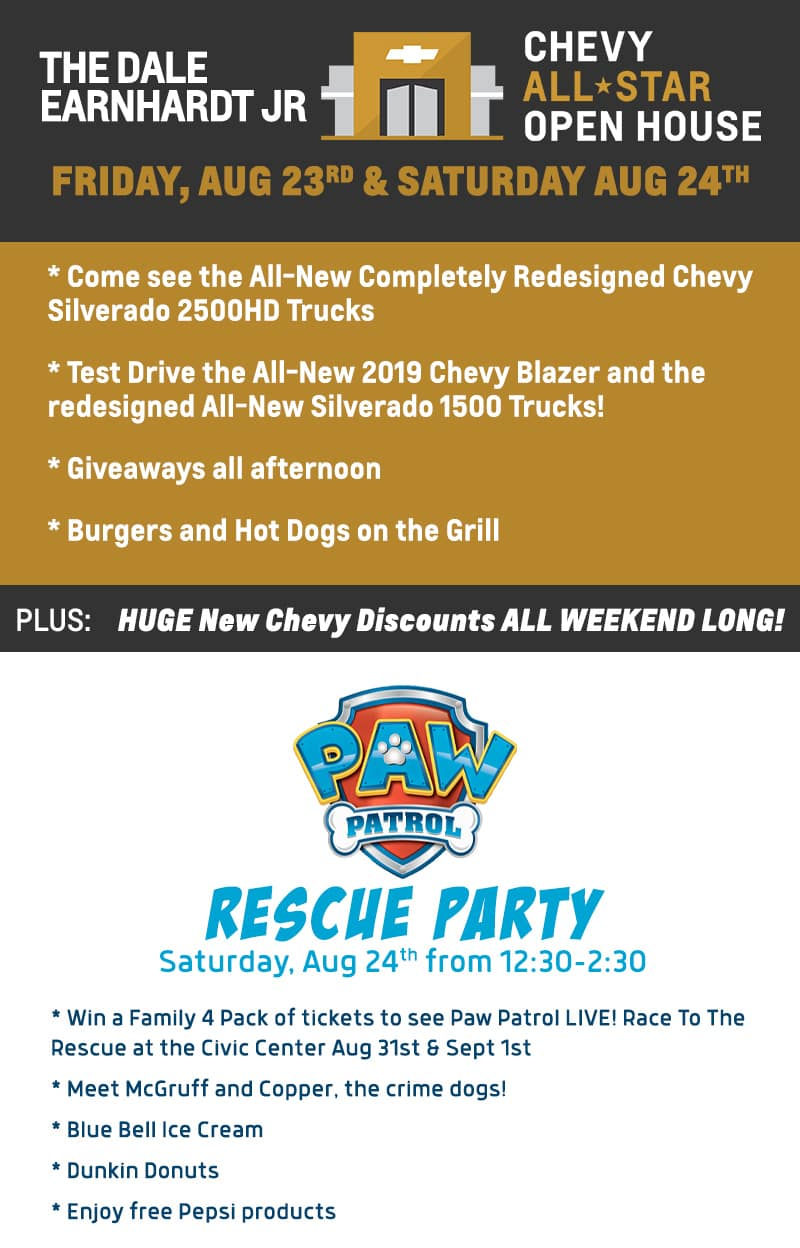 The Dale Earnhardt Jr. Chevy All-Star Open House and Rescue Party