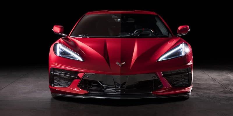 Front facing Red Corvette C8