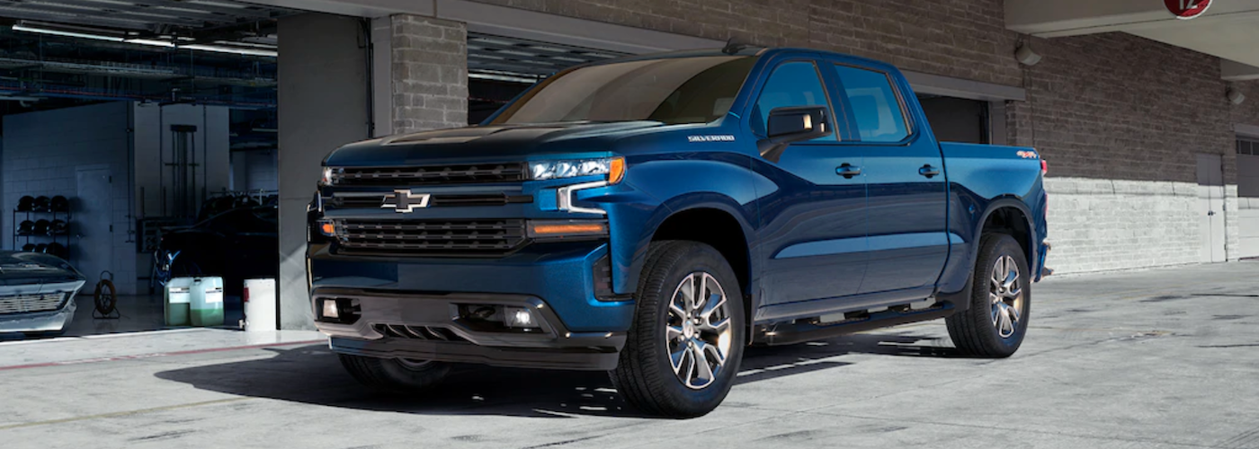 2020 chevy silverado 1500 blue exterior parked outside garage
