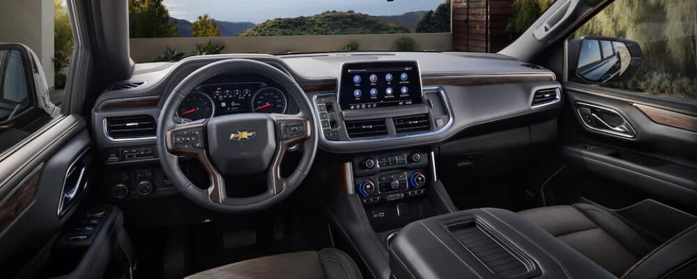Black interior of a 2021 Chevrolet Suburban