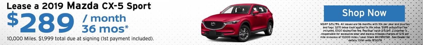 2019 Mazda CX-5 Sport lease special
