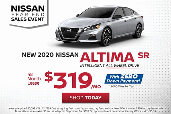 Lease a 2020 Nissan Altima SR All Wheel Drive for $319/month!