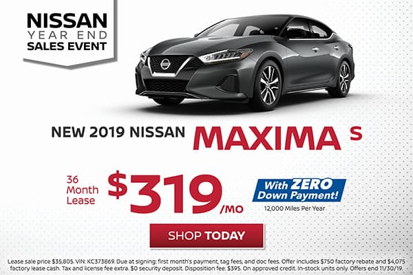 Lease a 2019 Nissan Maxima S for $319/month!