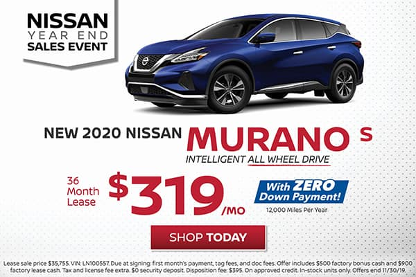Lease a 2020 Nissan Murano S All Wheel Drive for $319/month!
