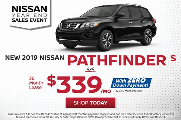 Lease a 2019 Nissan Pathfinder S 4x4 for $339/month!
