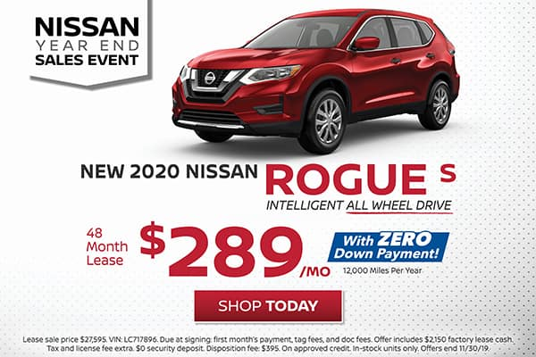 Lease a 2020 Nissan Rogue S All Wheel Drive for $289/month!