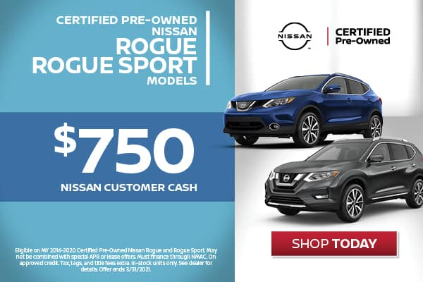 Certified Pre-Owned - $750 Nissan Customer Cash
