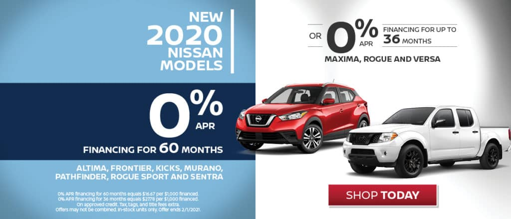 0% APR Financing on Select 2020 Models