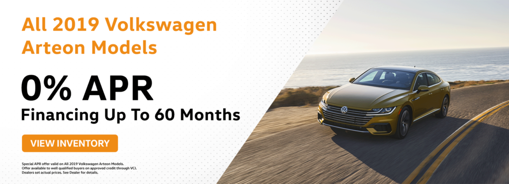 0% APR available for up to 60 months on all 2019 Arteon Models