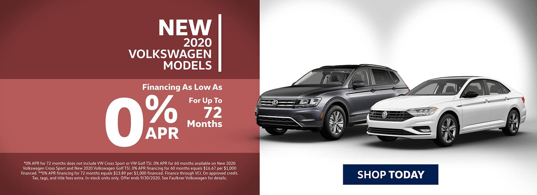 New 2020 Volkswagen 0% APR Financing