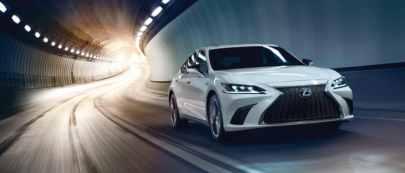2019 Lexus ES driving under a tunnel