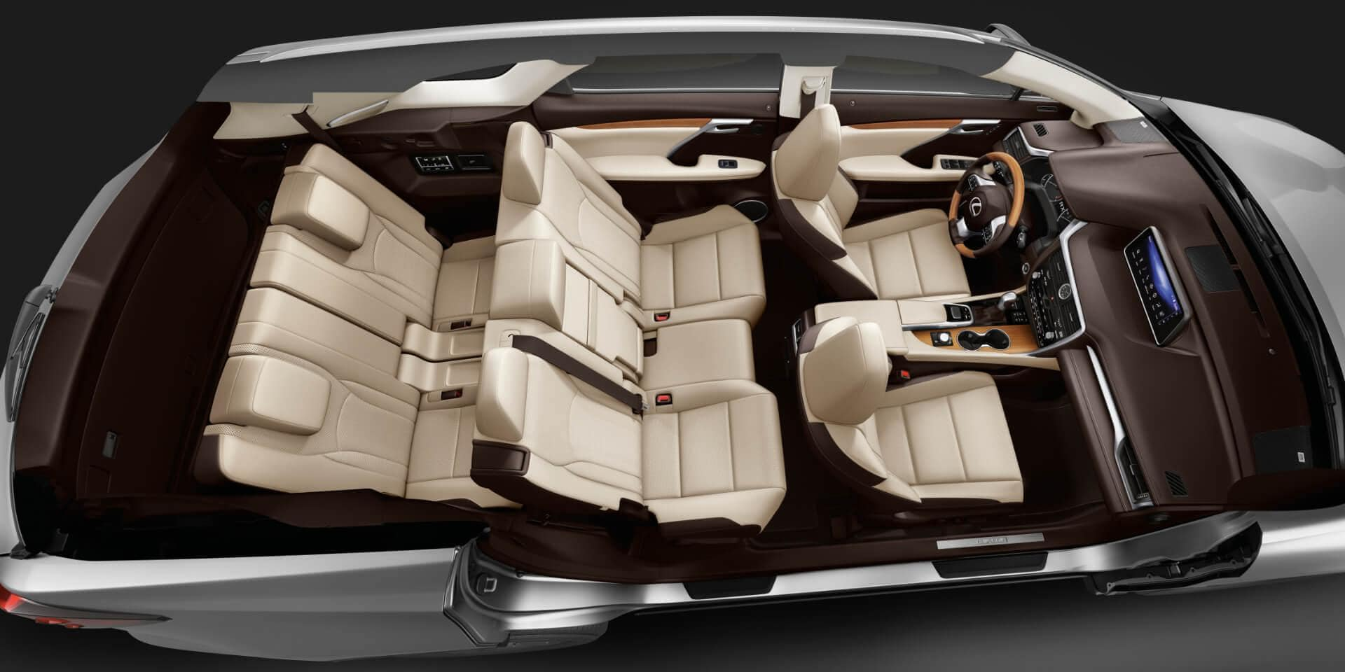 2018 lexus rxl interior seating capacity overhead view