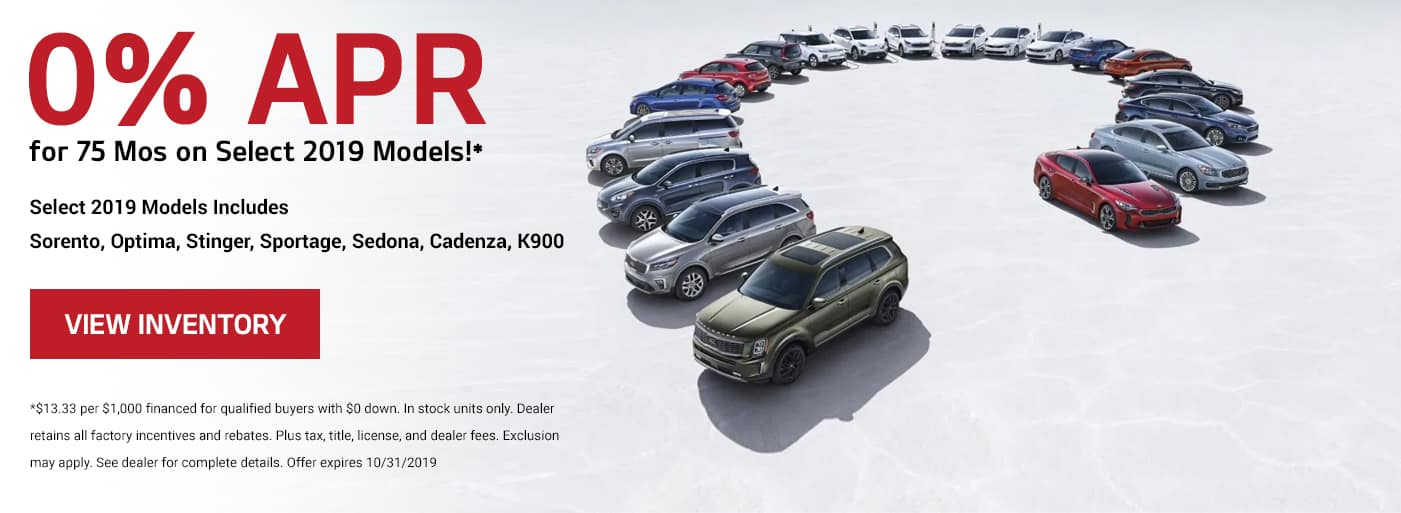 0% APR for 75 mos on most KIA models!