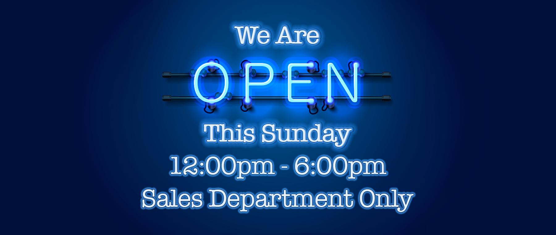 Open Sunday!