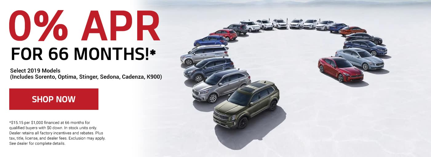 0% APR for 66 Mos on most 2019 models!