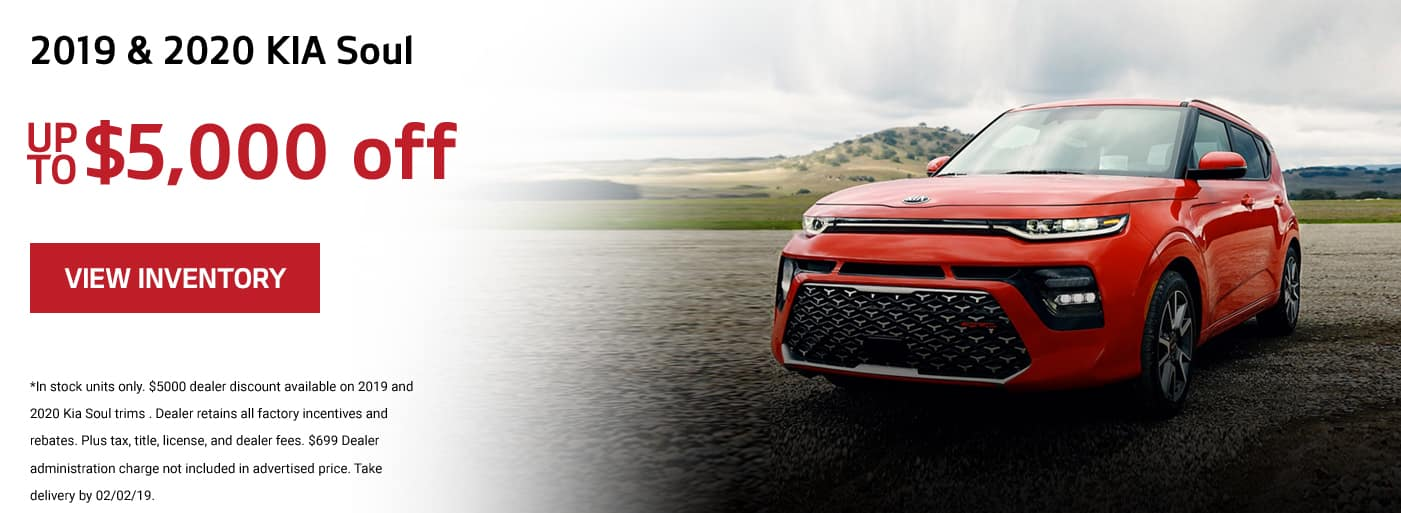 Up to $5000 off the 2019 and 2020 Kia Soul
