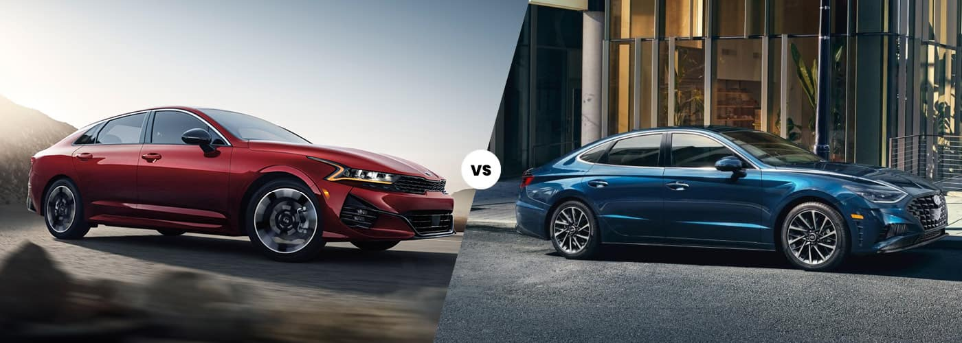 2021 kai k5 red exterior vs 2020 hyundai sonata blue exterior comparison image
