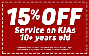 15% Off Service on KIAs 10+
