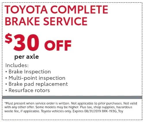 Toyota Complete Brake Service coupon