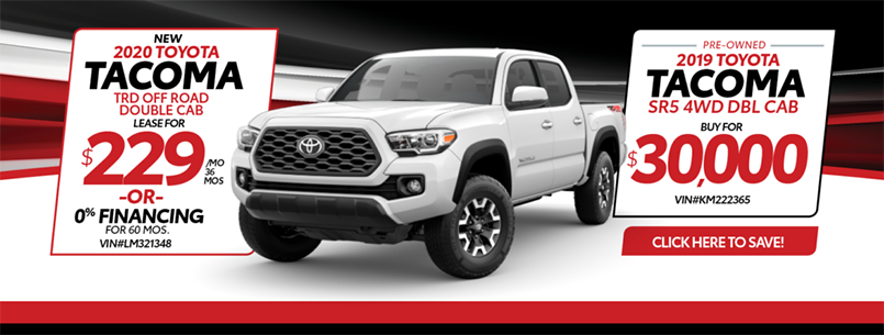 2020 Toyota Tacoma TRD Off Road Lease and 2019 Tacoma certified pre-owned special