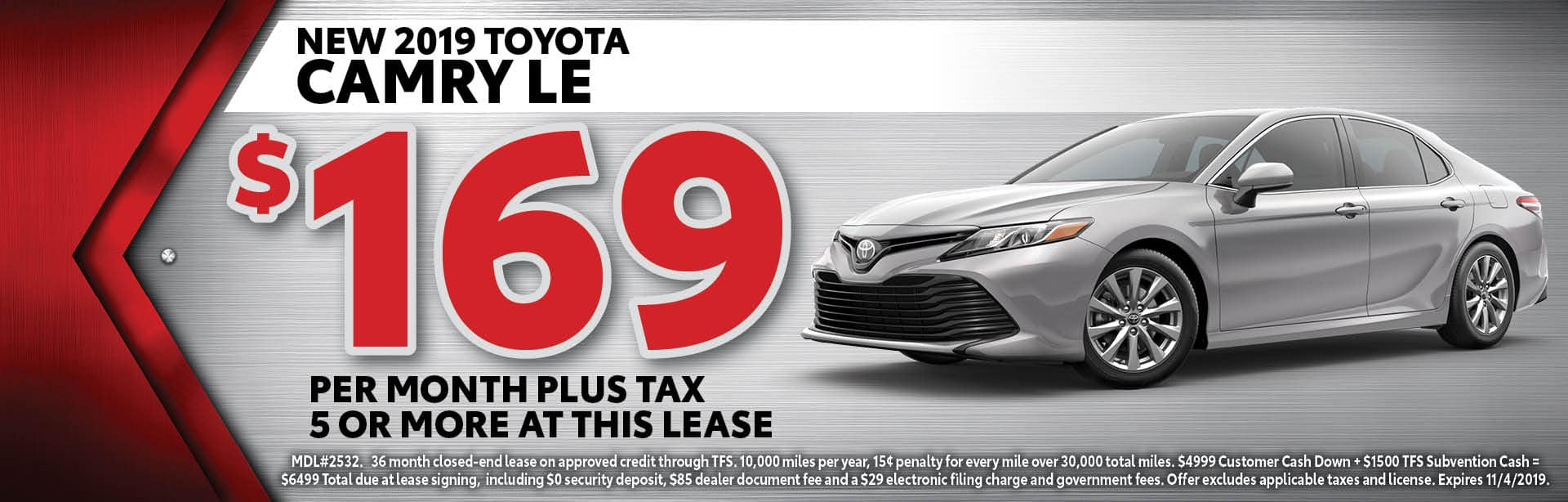 2019 Camry LE offer