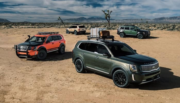 Several Kia Telluride models parked near one another in the desert
