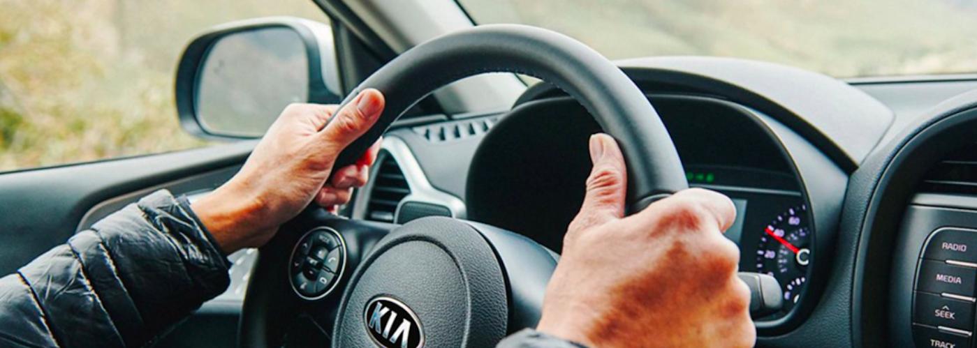 Kia steering wheel and dashboard