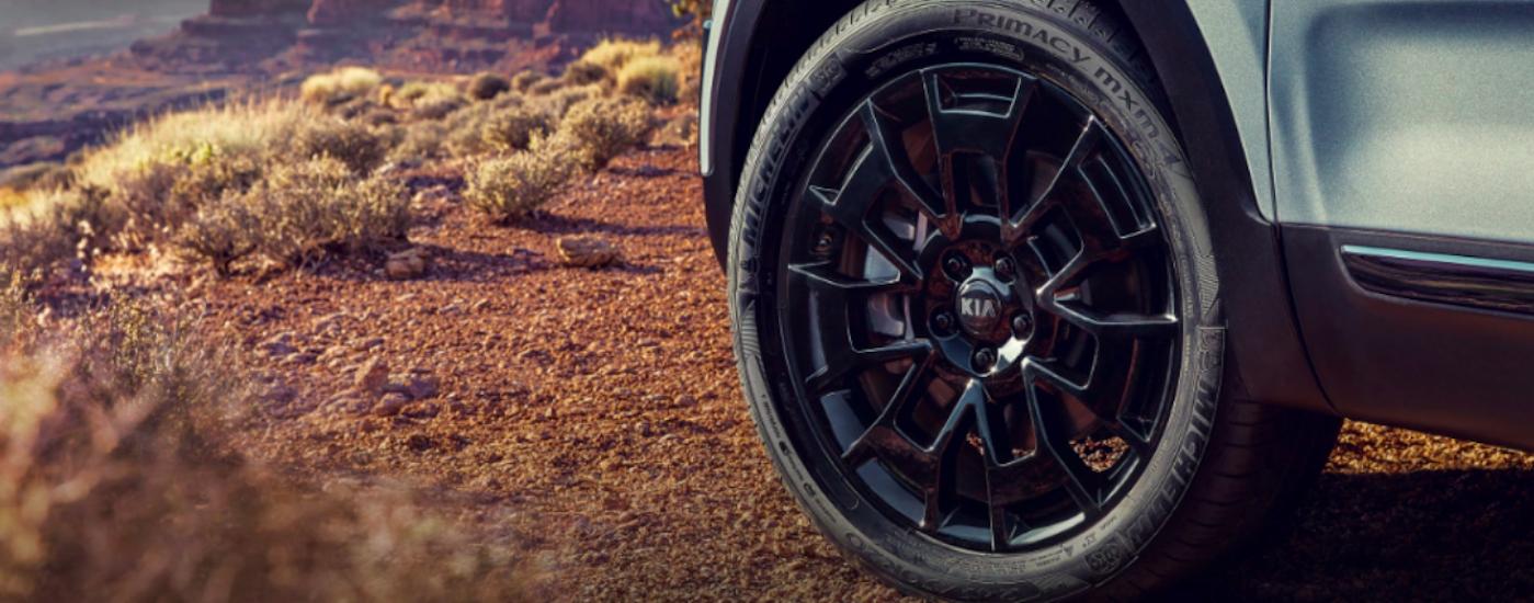 Closeup of Kia Telluride front tire