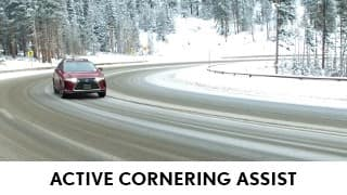 Image of 2020 Lexus RX driving around a corner in the snow using Active Cornering Assist