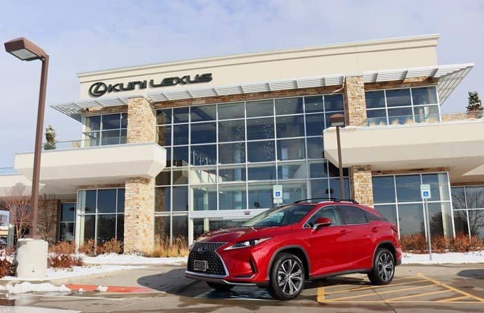 Image of red 2020 Lexus RX outside of the Kuni Lexus of Greenwood Village dealership